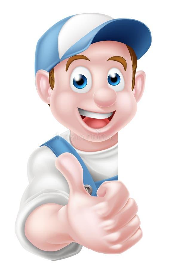 Шарж Thumbs вверх по работнику иллюстрация штока