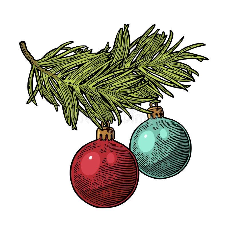 2 шарика игрушки на ели ветви для с Рождеством Христовым иллюстрация штока