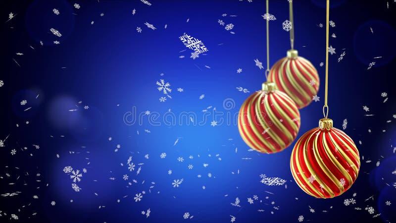 3 шарика рождества вися на ленте на голубой предпосылке снега иллюстрация штока