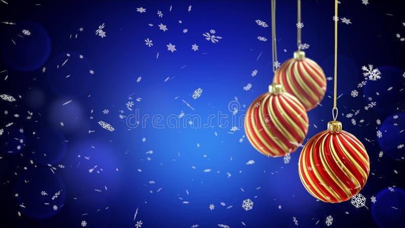 3 шарика рождества вися на ленте на голубой предпосылке снега бесплатная иллюстрация