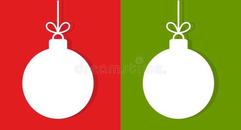 Шарики белого рождества на красной и зеленой предпосылке бесплатная иллюстрация