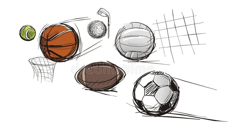 Шарики для различных видов спортов иллюстрация штока