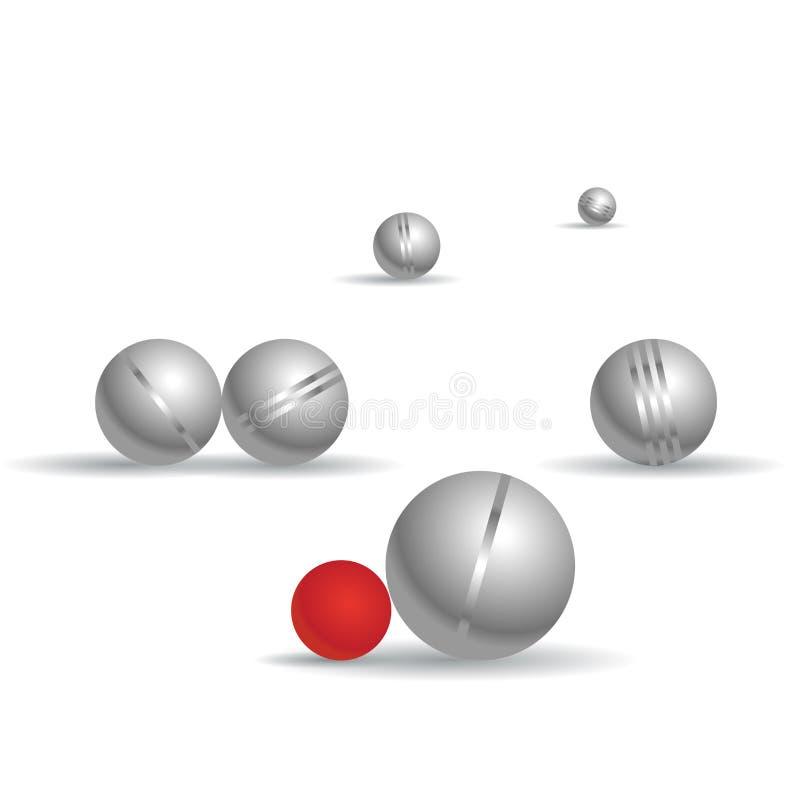Шарики игры игры в петанки, белая предпосылка Сферы shading Bocce с тенями иллюстрация вектора