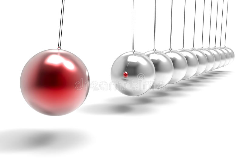 шарики изолированные 3D маятника Ilustration Сыгранность Concep дела иллюстрация штока