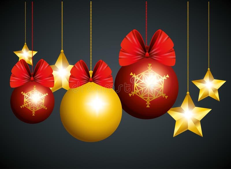 Шарики и звезды рождества вися украшение к Новому Году иллюстрация штока