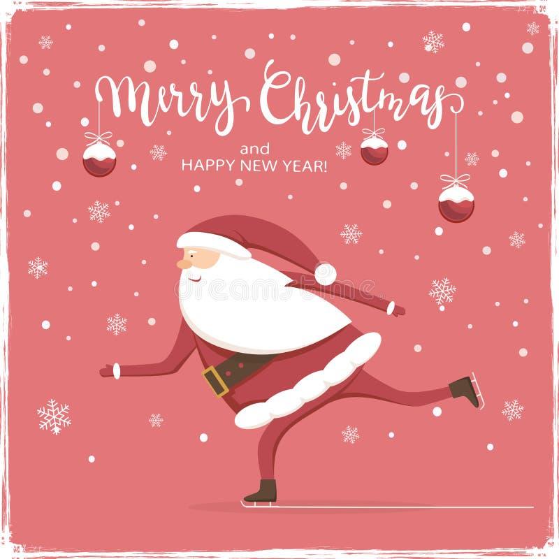 Шарики и Санта рождества катаются на коньках на красной предпосылке бесплатная иллюстрация