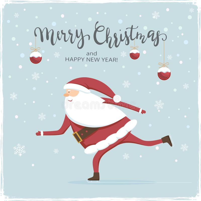 Шарики и Санта рождества катаются на коньках иллюстрация вектора