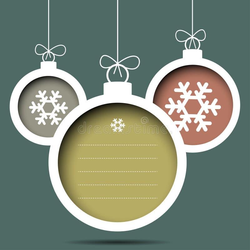 Шарики Кристмас с снежинками иллюстрация штока