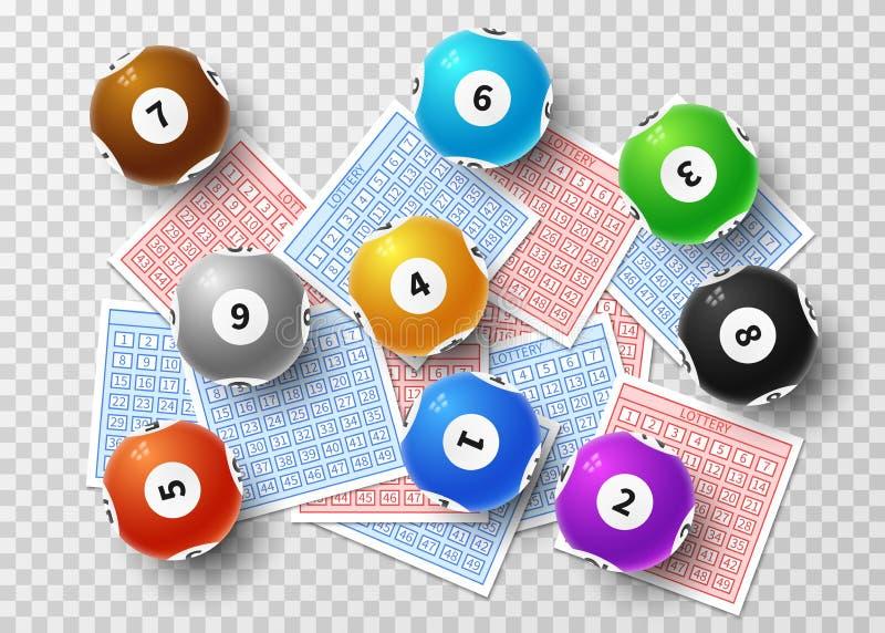 Шарики лотереи и билеты bingo удачливые изолированные на прозрачной предпосылке Спорт играя в азартные игры концепция вектора иллюстрация штока