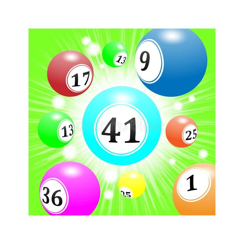 Шарики лотереи летают от afar с скоростью, яркой ой-зелен предпосылкой иллюстрация вектора