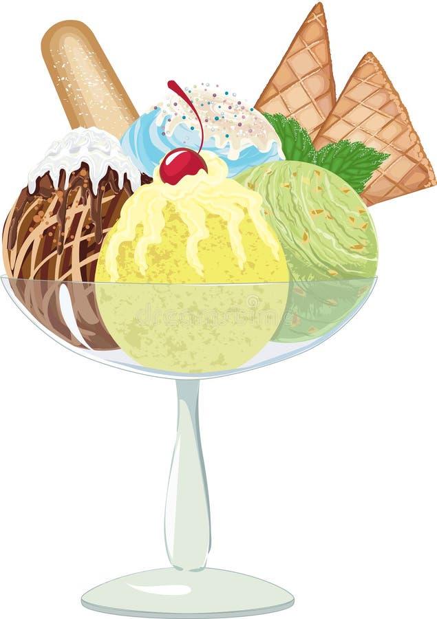 Шарики мороженого иллюстрация штока