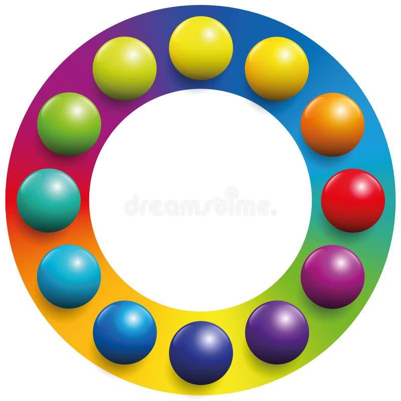 Шарики радуги рамки цветовой гаммы иллюстрация штока
