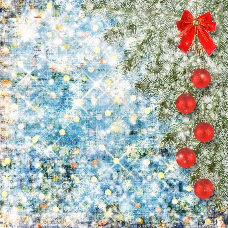 Шарики рождества и красный смычок с колоколами иллюстрация штока