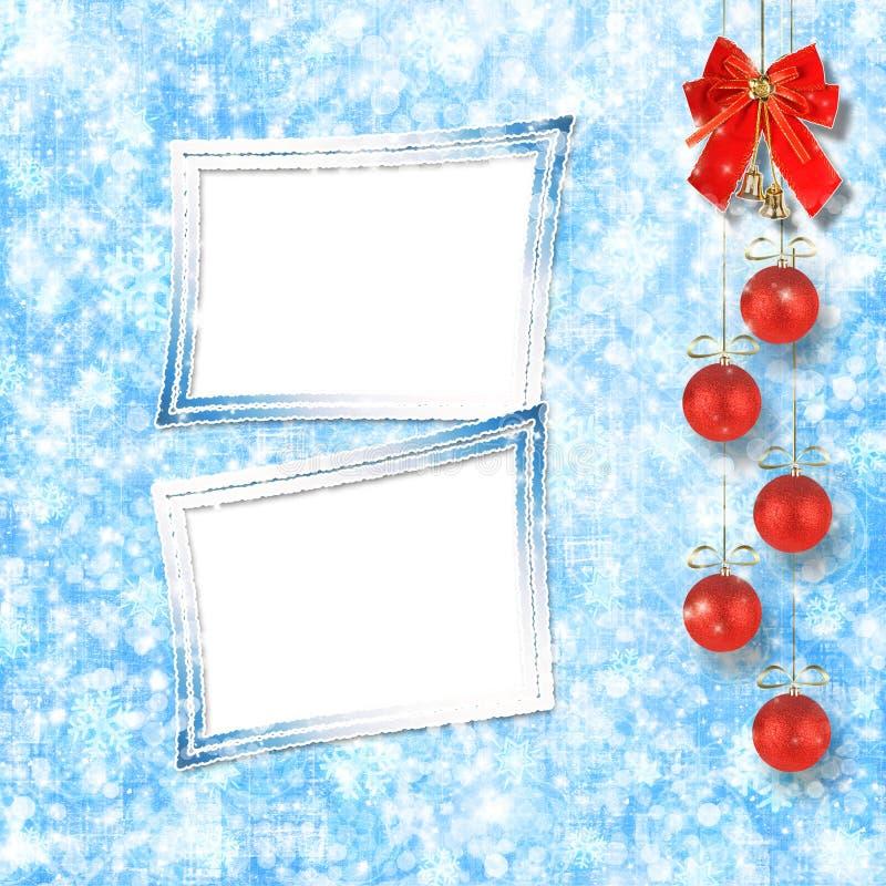 Шарики рождества и красный смычок с колоколами иллюстрация вектора