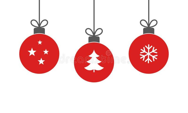 Шарики рождества красные вися орнаменты на белой предпосылке иллюстрация вектора
