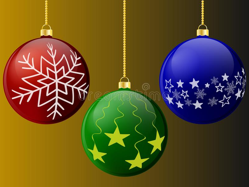 Шарики рождества красные зеленой и голубой с картинами на предпосылке также вектор иллюстрации притяжки corel 10 eps иллюстрация штока