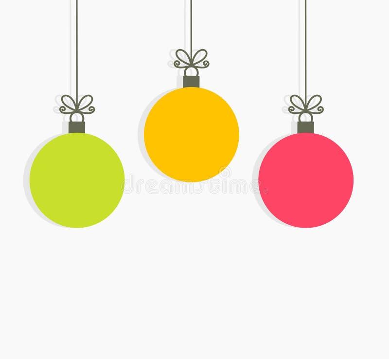 Шарики рождества красочные вися орнаменты бесплатная иллюстрация