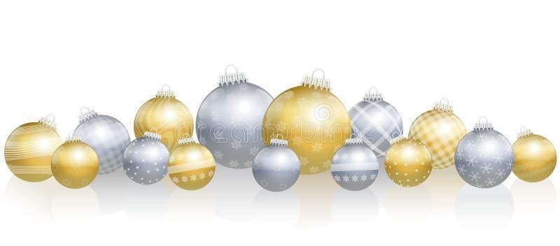 Шарики рождества свободно аранжировали серебр золота иллюстрация вектора