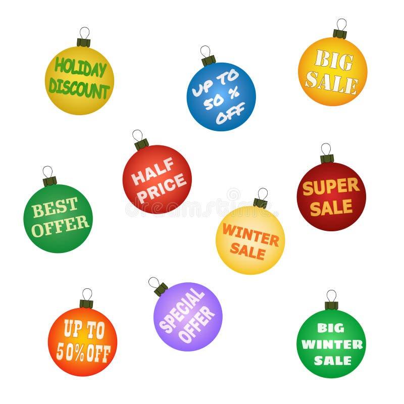 Шарики рождества с выдвиженческими предложениями бесплатная иллюстрация