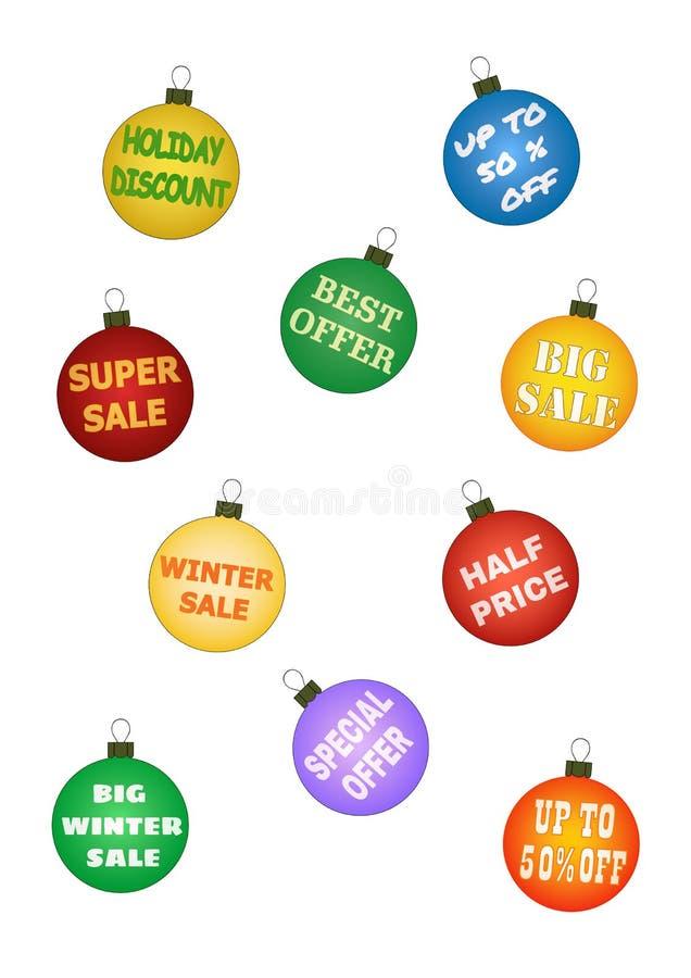 Шарики рождества с выдвиженческими предложениями иллюстрация вектора