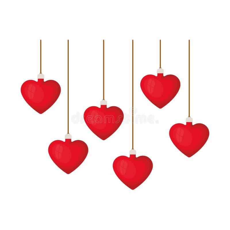 Шарики рождества с формой сердца вися изолированный значок бесплатная иллюстрация