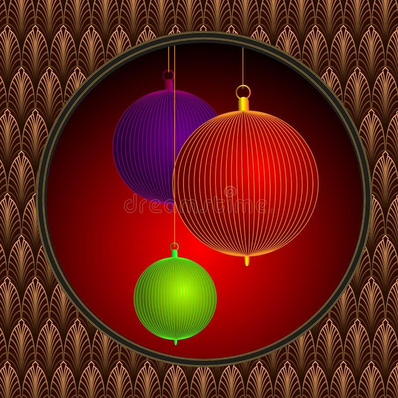 Шарики рождества установили на красную рамку искусства предпосылки и попа иллюстрация вектора
