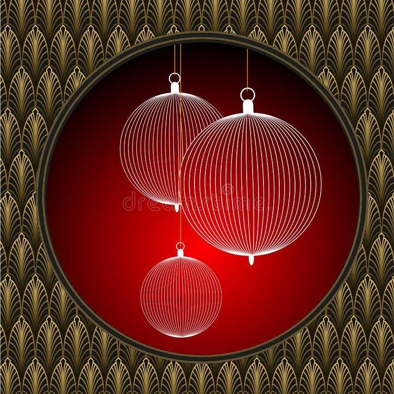 Шарики рождества установили на красную рамку искусства предпосылки и попа иллюстрация штока