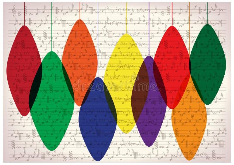 Шарики рождества на винтажной музыке замечают предпосылку иллюстрация вектора