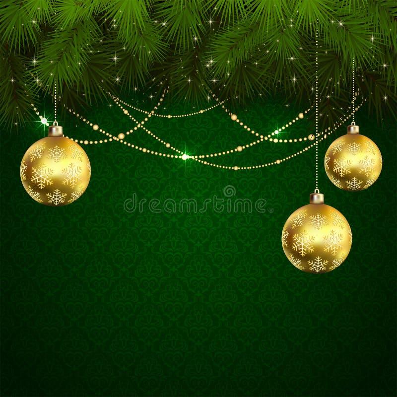Download Шарики рождества на зеленых обоях Иллюстрация вектора - иллюстрации насчитывающей ель, украшение: 41661608