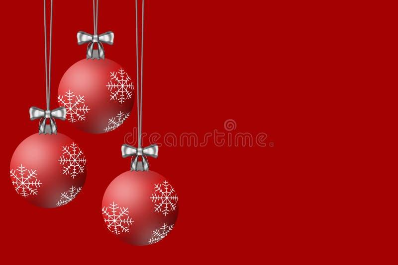 Шарики рождества показанные на красной предпосылке бесплатная иллюстрация