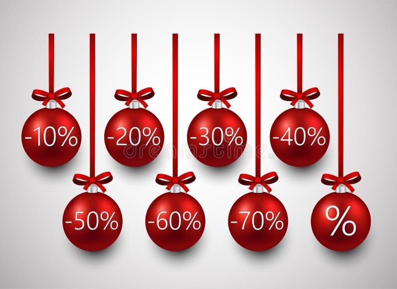 Шарики рождества продажи иллюстрация штока