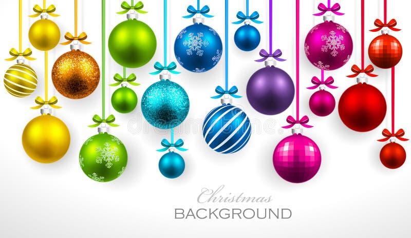 Шарики рождества с лентой и смычками иллюстрация вектора