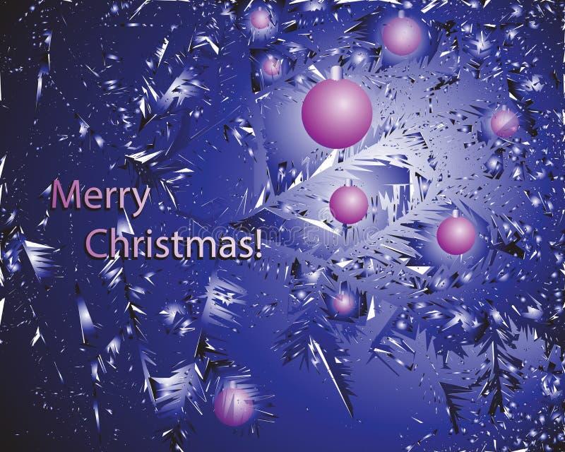 Шарики сирени и надпись с Рождеством Христовым! иллюстрация штока