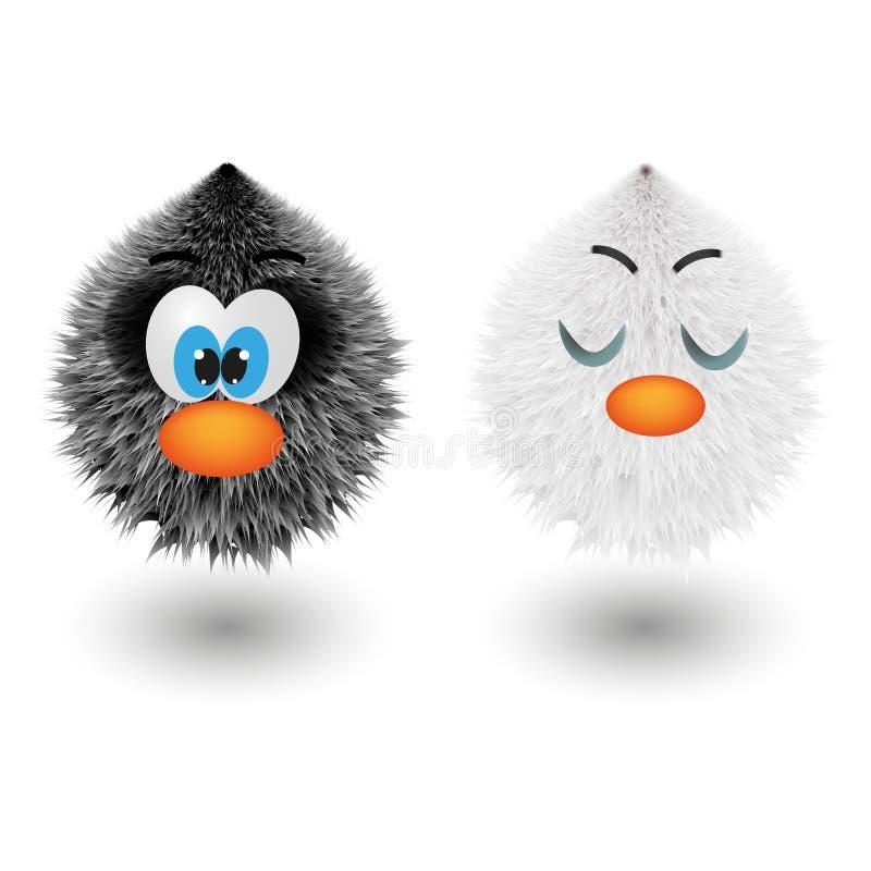 Шарики смешного шаржа красочные shaggy с характерами меха глаз пушистыми круглыми vector иллюстрация бесплатная иллюстрация