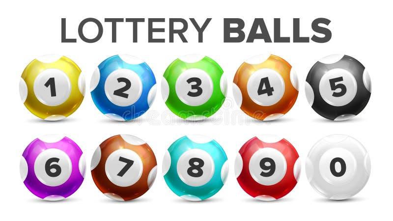 Шарики с номерами для вектора игры лотереи установленного иллюстрация вектора