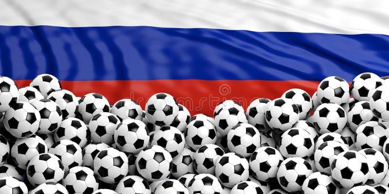 Шарики футбола футбола наваливают на развевать флаг России иллюстрация вектора
