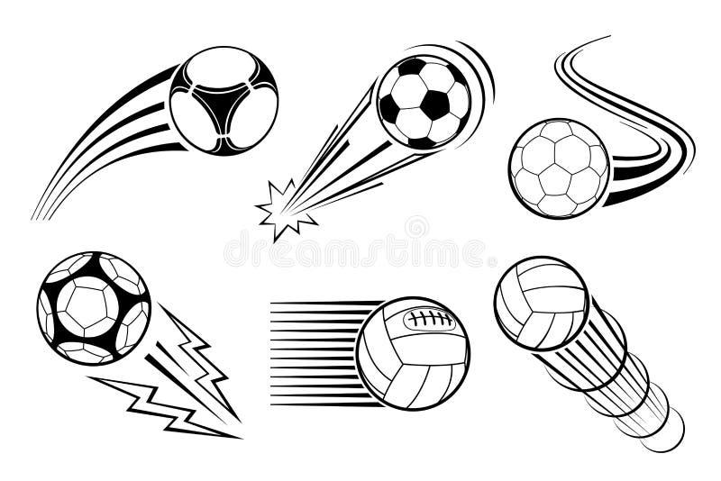 Шарики футбола и футбола для эмблем ярлыков элементы больше моего портфолио видят установленный вектор иллюстрация штока
