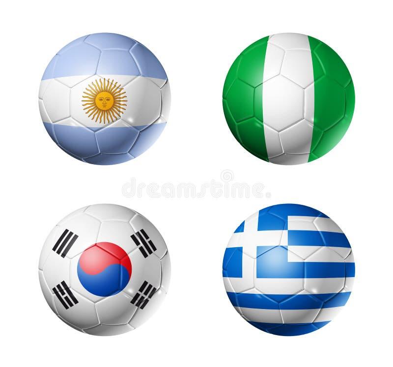 шарики b придают форму чашки мир футбола группы флагов иллюстрация вектора
