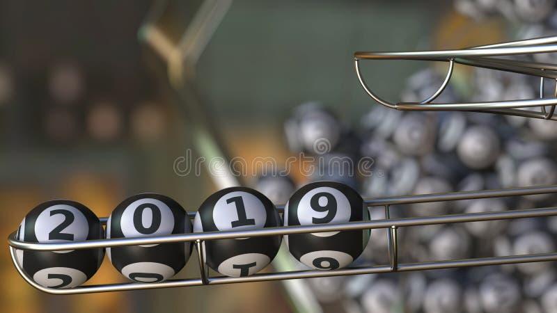 Шарики Lotto составляют 2019 номеров Реалистический перевод 3d иллюстрация штока