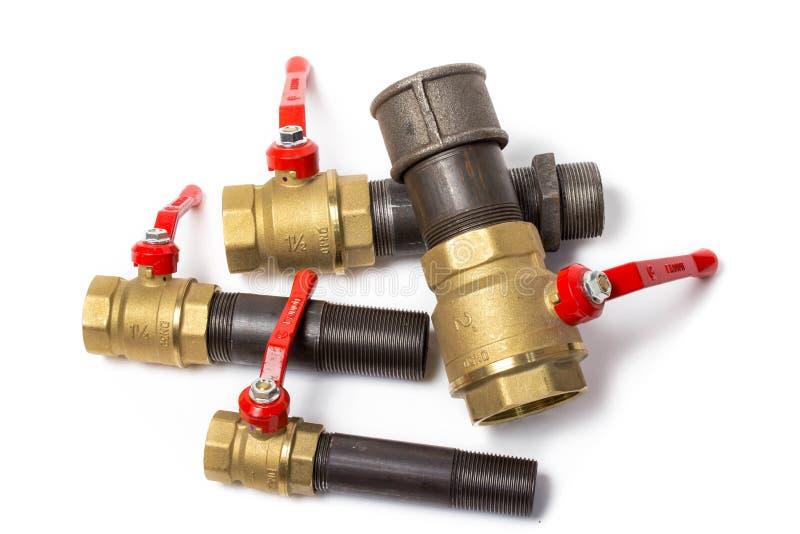 Шариковые клапаны подключенные к трубы стоковое фото rf