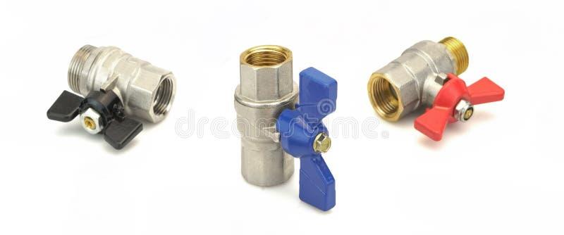 Шариковый клапан 3 покрытый хромом латунный изолированный на белом Backgroun стоковое фото