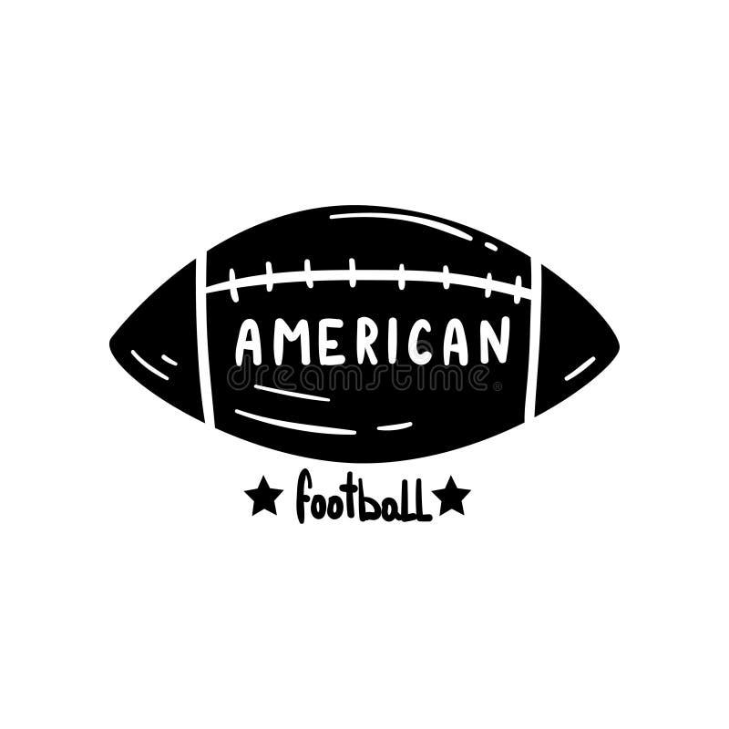 Шарик американского футбола, рука нарисованный ретро элемент дизайна для логотипа, иллюстрации вектора значка на белой предпосылк иллюстрация вектора