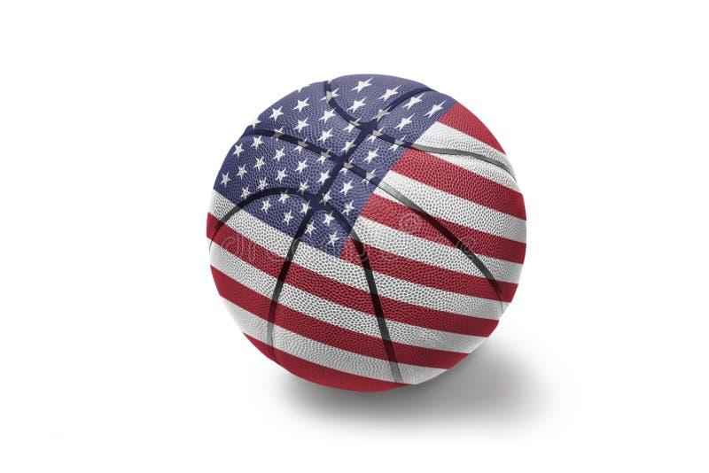 Шарик баскетбола с национальным флагом Соединенных Штатов Америки на белой предпосылке стоковое изображение rf
