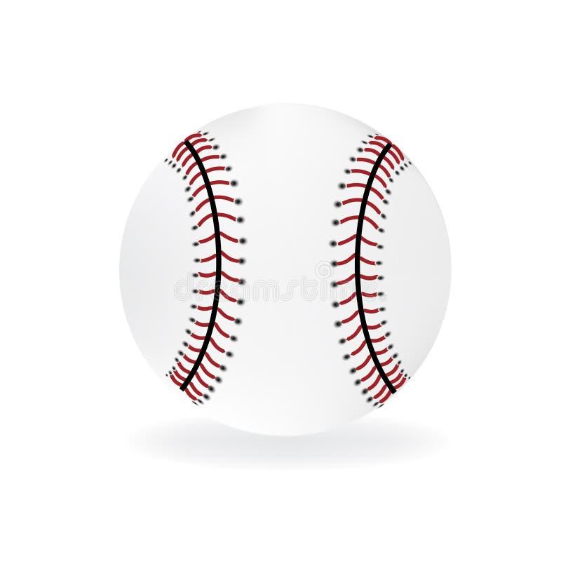 Шарик бейсбола на белом логотипе дизайна вектора бесплатная иллюстрация