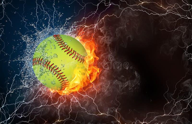 Шарик бейсбола в огне и воде иллюстрация штока