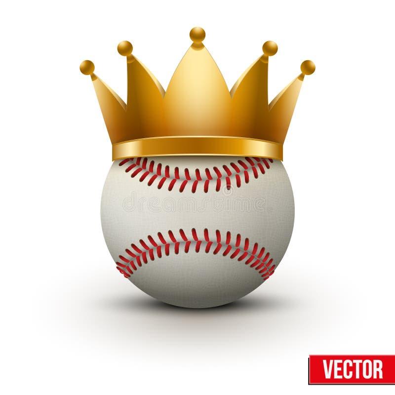 Шарик бейсбола с королевской кроной иллюстрация вектора