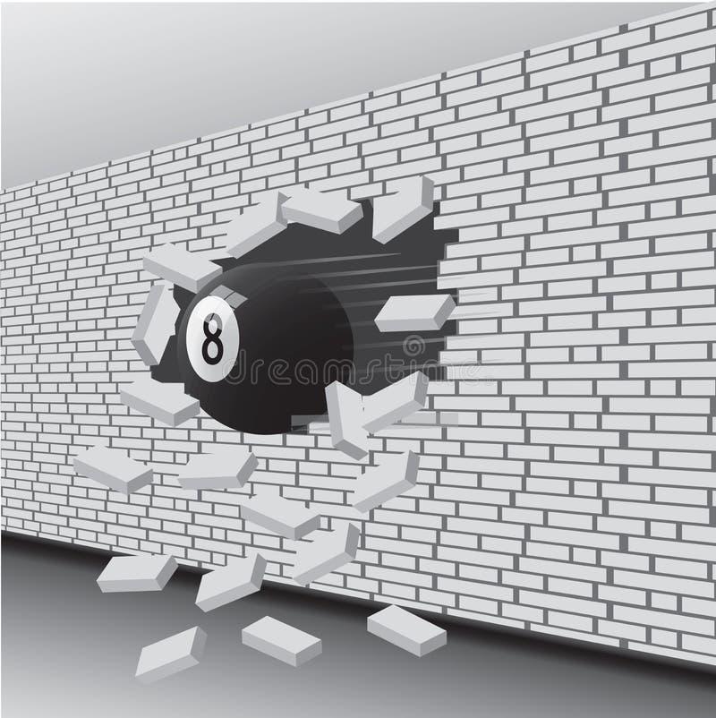 Шарик билльярда сломал стену иллюстрация штока