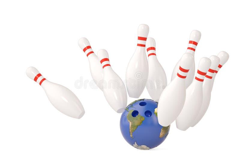 Шарик боулинга планеты и разбросанный skittle иллюстрация 3d бесплатная иллюстрация