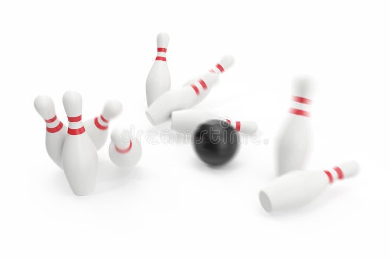 Шарик боулинга и skittles изолированные на белой предпосылке иллюстрация 3d иллюстрация вектора