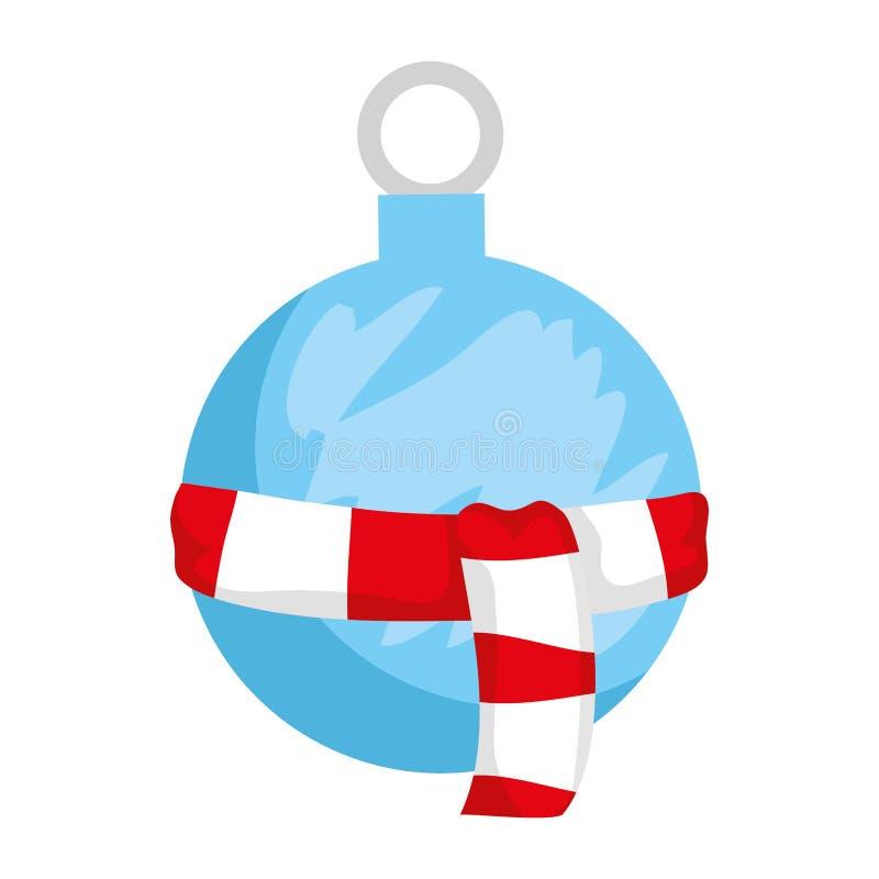 Шарик веселого рождества вися с шарфом иллюстрация вектора